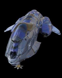 3D model spaceship cargo dropship