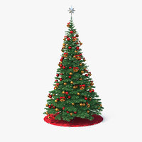 christmas tree silver star 3D model