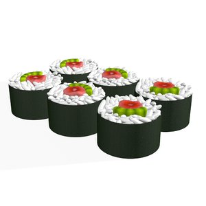 3D sushi roll japanese food model