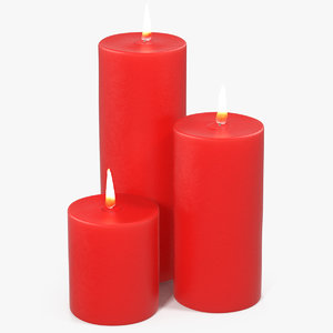 candles 3 flame light 3D model