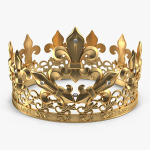 3D golden king crown royal