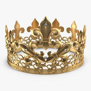 3D golden king crown royal