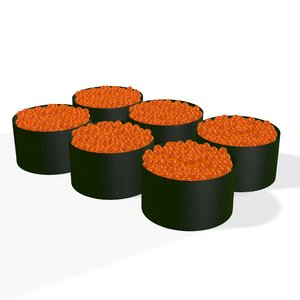 roe sushi roll japanese 3D