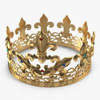 3D golden king crown gems