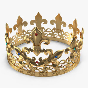 3D golden king crown gems