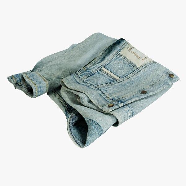 realistic jean jacket 2 3D model