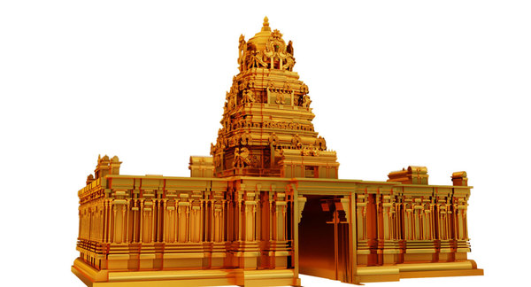 3D gold temple model