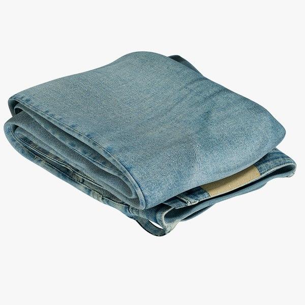 3D realistic jeans blue v11 model