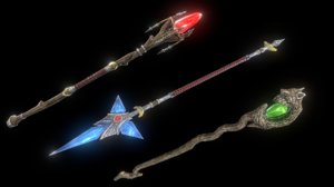 3D stylized staffs - set model