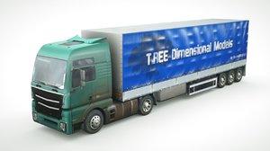 3D model generic semi-truck 534
