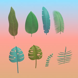stylized tropical leaves plants 3D