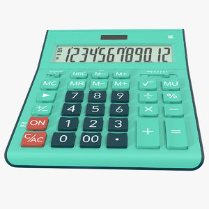 3D teal calculator generic model