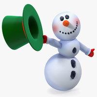 3D model greeting cartoon snowman snow