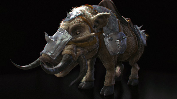 3D fantasy armored wild boar model