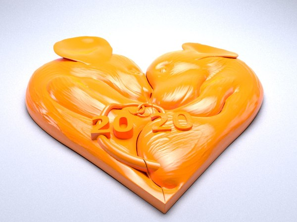 3D new year pendant heart