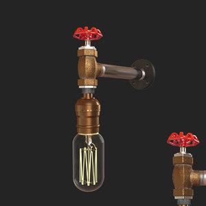 3D loft red faucet loft1482w-5