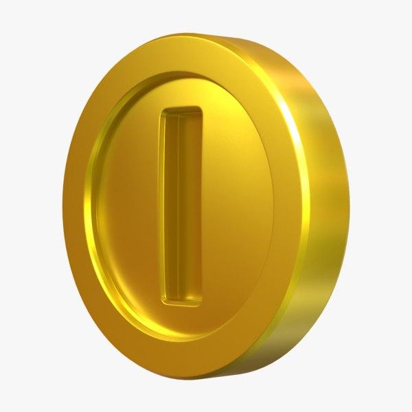 gold coin super mario model