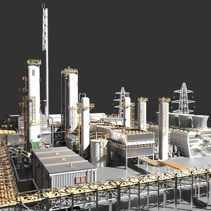 industrial oil refinery 3D model