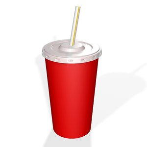 3D soft drink cup plastic model