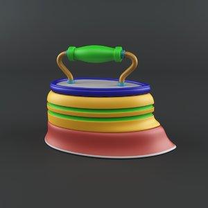 3D old cartoon iron