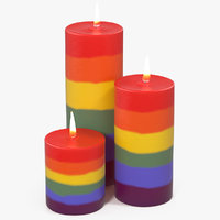 3D rainbow candles flame light
