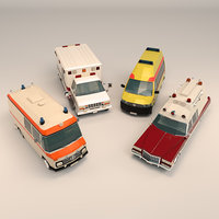 Low Poly Ambulance Pack 01