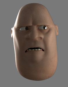 3D rigged cartoon face