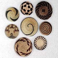 3D set african baskets wall