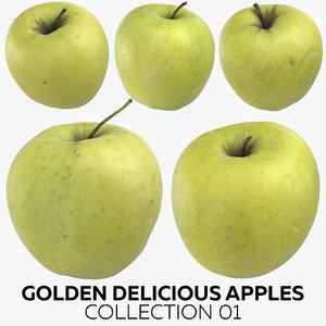 golden delicious apples 01 3D model