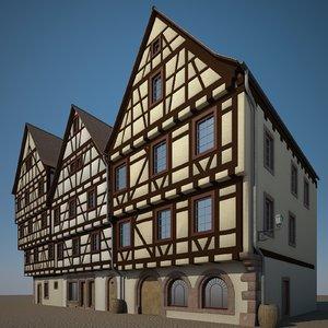 3D medieval houses model