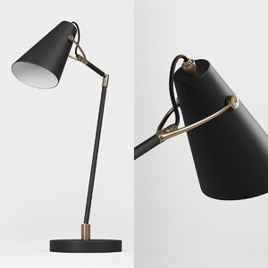 black metal desk lamp 3D model