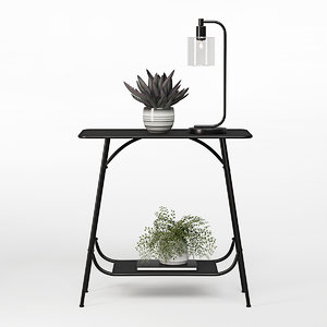 black industrial console table 3D model