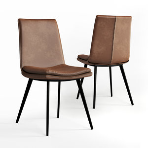 comfortable dining chair tan 3D model