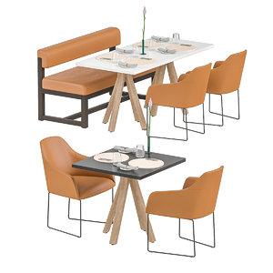 restaurant tables modeled 3D model