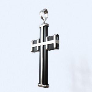 3D cross silver black