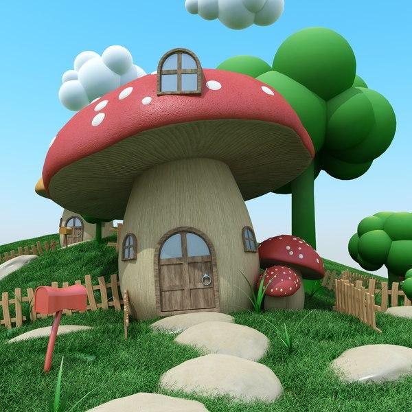 cartoon mushroom town 3D
