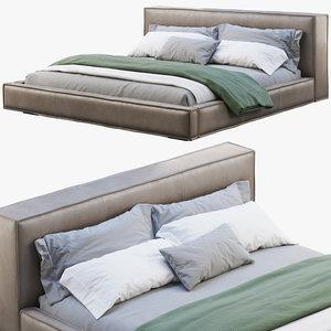 3D queen loft leather bed model