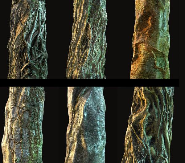 old jungle tree bark model