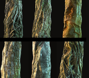 old jungle tree bark model