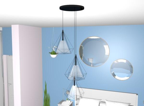 3D model diamond shape design lamp