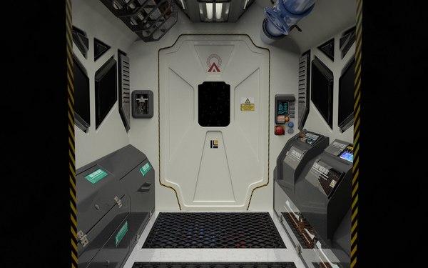 3D interior spaceship spacestation