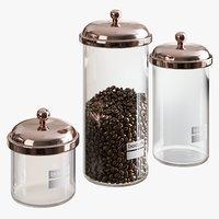 3D realistic bodum storage jars