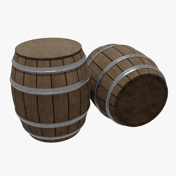 3D barrel blender metallic model