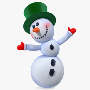 smiling cartoon snowman snow 3D model