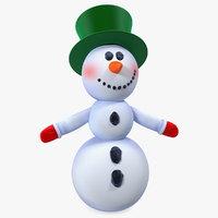 3D model snowman t-pose snow