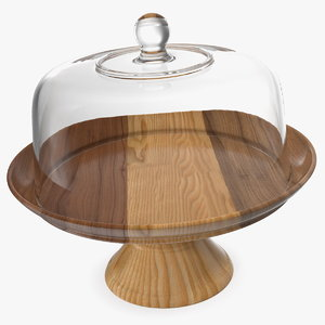 wooden cake stand dome 3D model