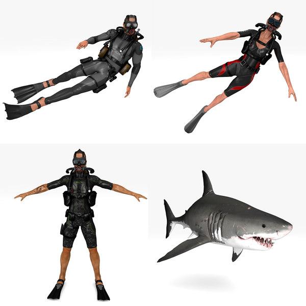 3D diver pack 4 1 model