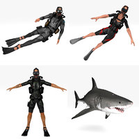 Diver Pack 4 in 1 RIGGED & ANIMATED