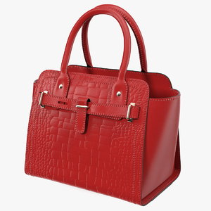 3D alligator women handbag red leather