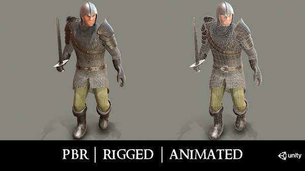 3D model medieval knight chainmail